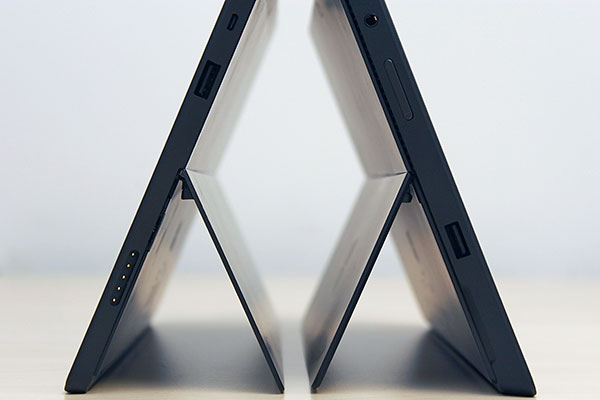 The Surface Pro (on the right) is 44% thicker than the Surface RT. It also tilts slightly more towards the back (26 vs. 22 degrees).