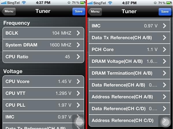 From the Tuner utility, we were able to access the key BIOS settings that allowed us to overclock the test rig.