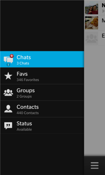 Screenshot of WhatsApp running on the BlackBerry 10 platform (Image source: BlackBerry)