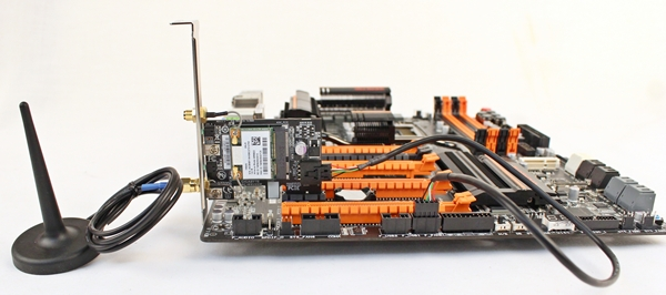 The Wi-Fi/Bluetooth expansion card can be installed into any of the board's PCIe x1 slots and it requires the USB cable to connect it to the F_USB connector of the board as well.