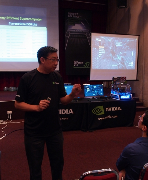 Mr. Yeo from NVIDIA explaining the technical details of the GTX Titan.