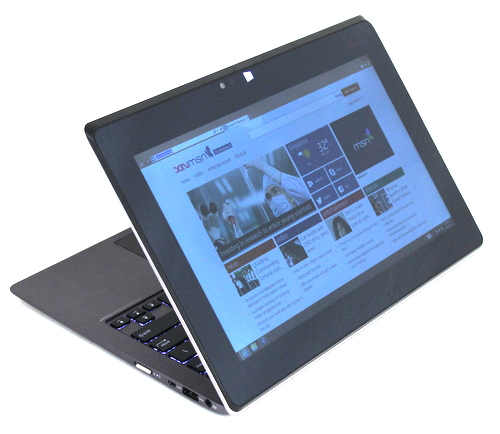 The ASUS Taichi 21's secondary display can be turned off, used as a mirror of the primary display and as an extension of the desktop. It can also be used alone with multi-touch enabled.