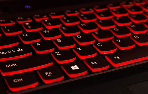 The Y500's surround backlighting is nice and bright so you won't have any problems typing in the dark.