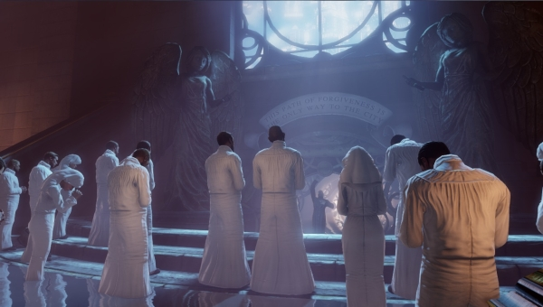 Before venturing further into the air-city of Columbia, protagonist Booker DeWitt is required to undergo a baptism, as witnessed by the white-robed devotees seen here.