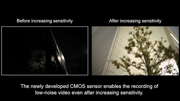 A screenshot from the video showing the difference in results after the sensitivity of the new sensor is increased.