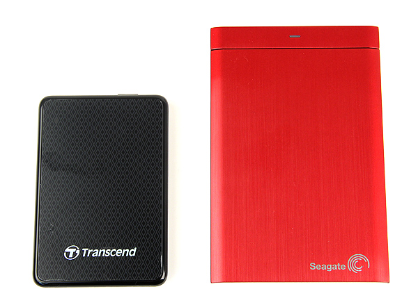 The Transcend ESD200 portable SSD is much more compact than a regular 2.5-inch portable external hard drive. Here it is next to the Seagate Backup Plus.