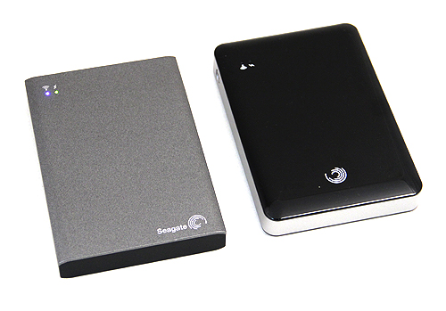 On the left is the new Seagate Wireless Plus and on the right is the older GoFlex Satellite.