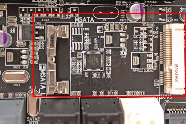 The onboard mSATA slot for mSATA SSDs.