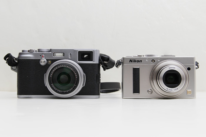 The Nikon A is both smaller and lighter than its competitors (pictured here with the Fujifilm X100).