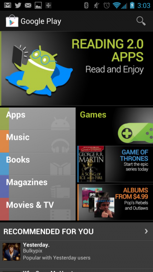 The current Google Play Store homescreen