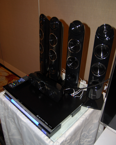 The Panasonic SC-BTT 430 is the most premium home theatre system unveiled. As you can see in the shot, the vertical speakers have four drivers each which includes a dedicated tweeter for excellent highs.