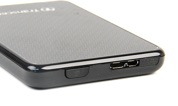 The top side of the drive is a button that enables Transcend's one-touch backup. To the right of it is a standard USB 3.0 micro-B type connector.