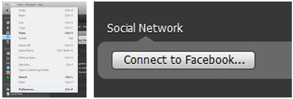 "Method #2: The option to sign in to you Facebook account can also be found in the ""Preferences"" menu which can be initiated from the list of ""Edit"" drop-down options."