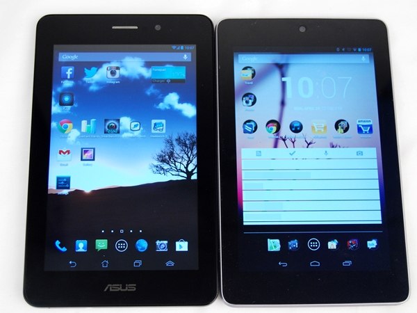The ASUS Fonepad (left) shares almost the same physical dimensions as the Google Nexus 7 (right).