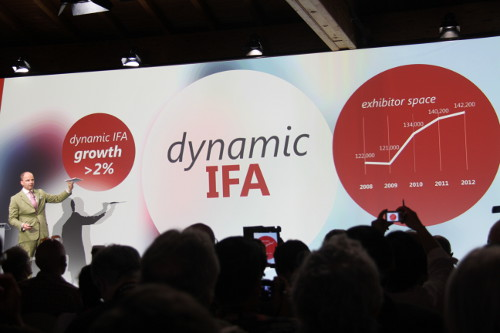 Dr. Christian Goke, current Chief Operating Officer of Messe Berlin, promotes a dynamic IFA for this year's show strategy to the GPC attendees. Dr. Goke will assume the role of the CEO of Messe Berlin from July 2013 onwards.