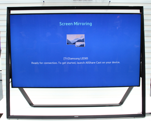 Here you can see Screen Mirroring in action on the Samsung 85-inch UHD 4K TV with the help of Miracast. Instantly, you can get an 85-inch phone or tablet as Screen Mirroring will do exactly what it says.