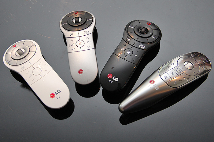The Wii Remote-like Magic Remote from LG. The longish metallic gray Magic Remote (fourth remote in the picture) is only for the LA8600 series. The standard Magic Remote comes in different colors (white, gray, or black depending on the TV's cabinet/stand color) are for the other series.