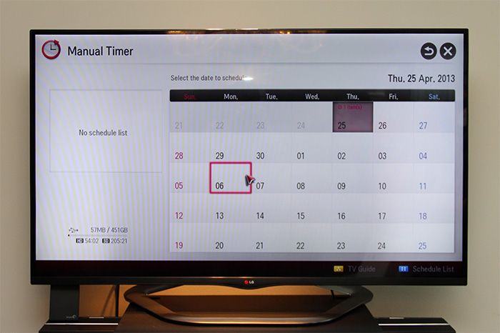 Alternatively, you can use the manual timer to schedule a recording in advance.