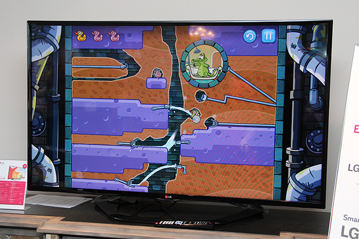 Popular smartphone/tablet game Where's My Water? can now be downloaded on LG's latest TVs.