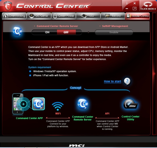 The Command Center Remote Server service can be turned on here, allowing wireless access with a mobile device that has the Command Center application installed.