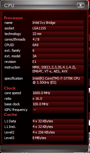 "The detailed processor information that is accessed by clicking on the ""More"" button in the CPU section of the Overclocking tab."