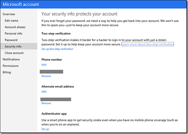 Two-factor authentication comes to Microsoft account. (Image source: Microsoft.)