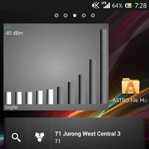SingTel <br> Signal strength: -85dBm