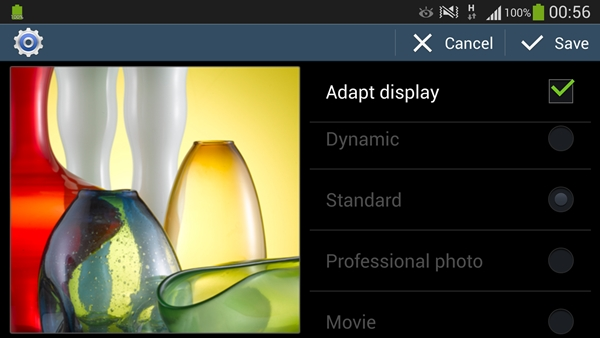 Adapt Display can be enabled via Settings > My device > Display > Screen mode.