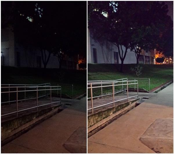 Both photos are taken with the Samsung Galaxy S4 - images have been resized for web use to mimic actual usage on social media. <br> Left: photo taken in auto mode without flash; Right: photo taken in Night Mode without flash.