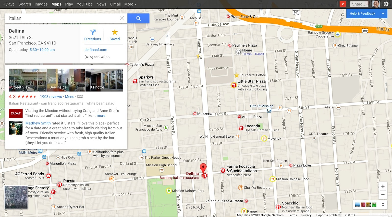 Clicking on a pin will bring up a information card with location information, street view pictures and reviews.