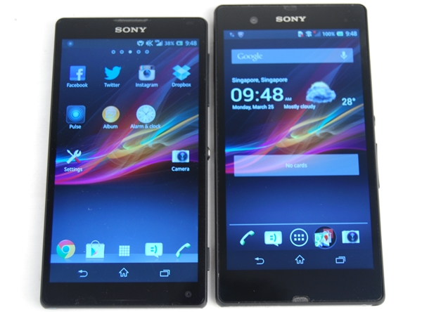 The Sony Xperia ZL feels easier to hold and navigate due to its shorter form factor.