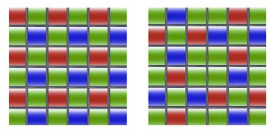 A conventional sensor array (left) compared to the X-Trans sensor (right). Image source: Fujifilm.