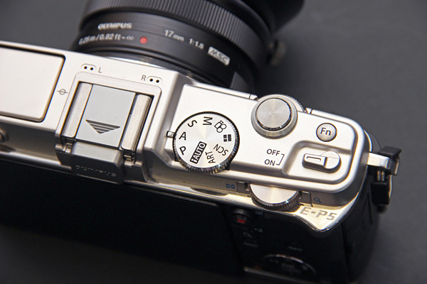 The E-P5 comes with twin control dials instead of just one. The Power switch has also been redesigned,