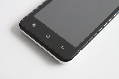 Just below the 4.5-inch screen, a strip of buttons for Menu, Home, and Back can be found. These buttons allow for quick and easy navigation on Android 4.0.4 (Ice Cream Sandwich) OS.