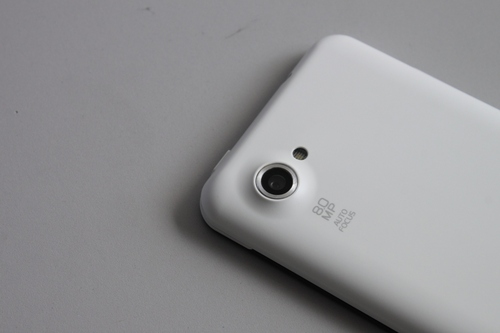 The 8-megapixel rear shooter bulges from the device, which can be a little bothersome. When you lay the phone flat on its back, the rear camera sticks out, which makes the device uneven on a flat surface.
