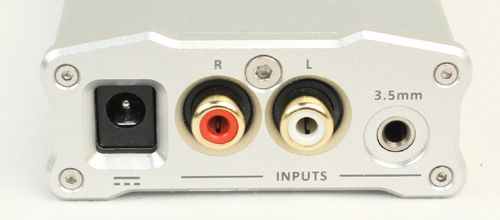 On the back you can find the RCA input ports as well as a 3.5mm port and the socket for the power adapter.