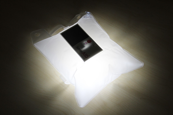 Once the LuminAID is inflated however, the light becomes more diffused.