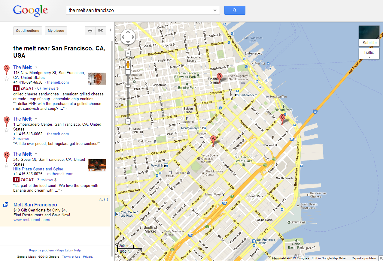 Current Google Maps UI with sidebar