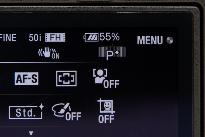 By looking at the battery indicator icon, you'd think you had three-quarters' worth of battery life left, but you'd be wrong - you only have 55%. This is why we need percentage indicators on all our cameras today, and perplexing why Sony is the only one who does this.