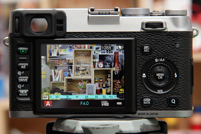 When manually focusing with focus peaking, the areas outlined in white are in focus (camera shown here is the Fujifilm X100S, but the screens are identical).