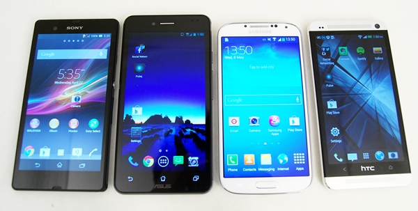 From left to right: Sony Xperia Z, ASUS PadFone Infinity, Samsung Galaxy S4 and the HTC One.
