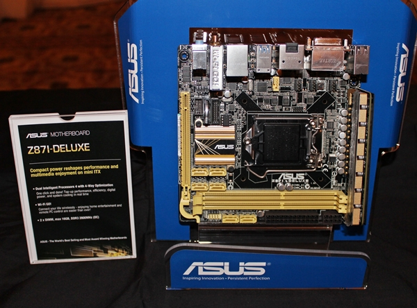 The ASUS Z87I-Deluxe mini-ITX motherboard. Notice its vertically stacked VRM module on the side due to limited PCB space on the board.
