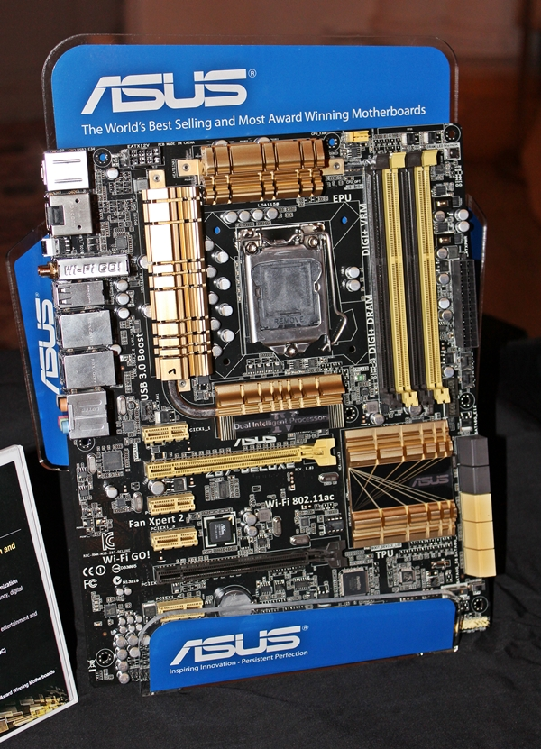 The ASUS Z87-Deluxe motherboard. We noticed a PLX switching chip that will add more PCIe lanes to the board. Seems like the Deluxe models are living up to their names quite nicely.