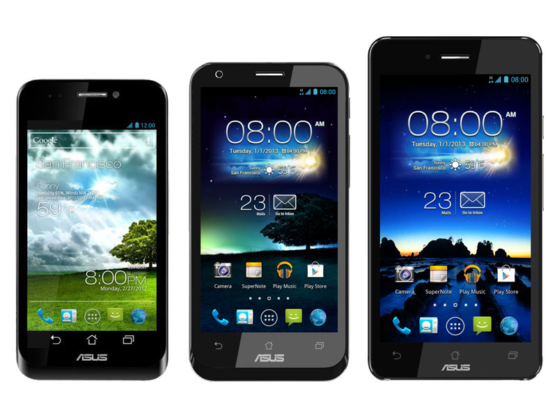 From left to right: ASUS PadFone, PadFone 2 and PadFone Infinity. And  yes, they are to scale as each is larger than the predecessor.