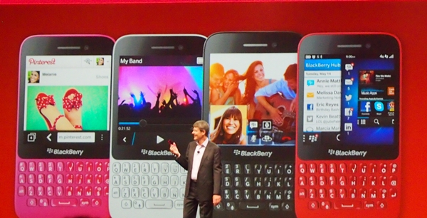 The BlackBerry Q5 will be available in four colors: pink, white, black and red.