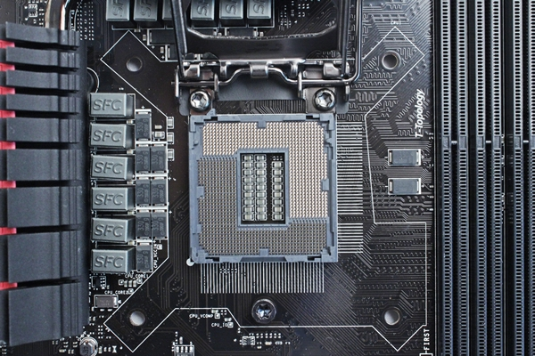 The LGA1150 CPU socket of the MSI Z87-GD65 Gaming motherboard.
