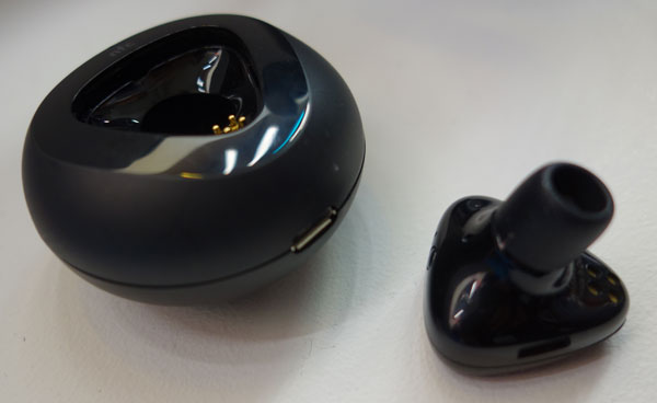The Nokia Luna, a handy Bluetooth headset that fits into a pebble-shaped charger. Pairing is made easy with NFC.
