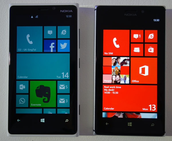 The difference in brightness for the display on the Lumia 920 (left) versus the Lumia 925 (right) is quite obvious.