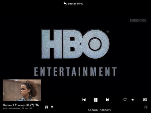 The HBO GO App main viewing screen lets you skip from Episode to Episode with a little window preview below, so that you do not need to jump back and forth between screens.