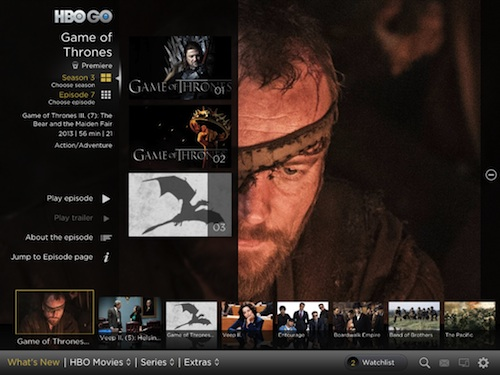 You can navigate through a popular TV series, like Game of Thrones, by filtering them via Season or Episodes.